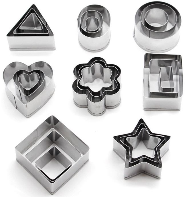 Cutters - 24 Piece Stainless Steel Cutters - 8 Popular Shapes