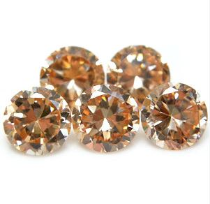 2mm Round Faceted Champagne x 5
