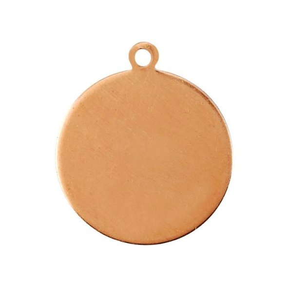 Copper Round Blank with Ring Bail - Medium