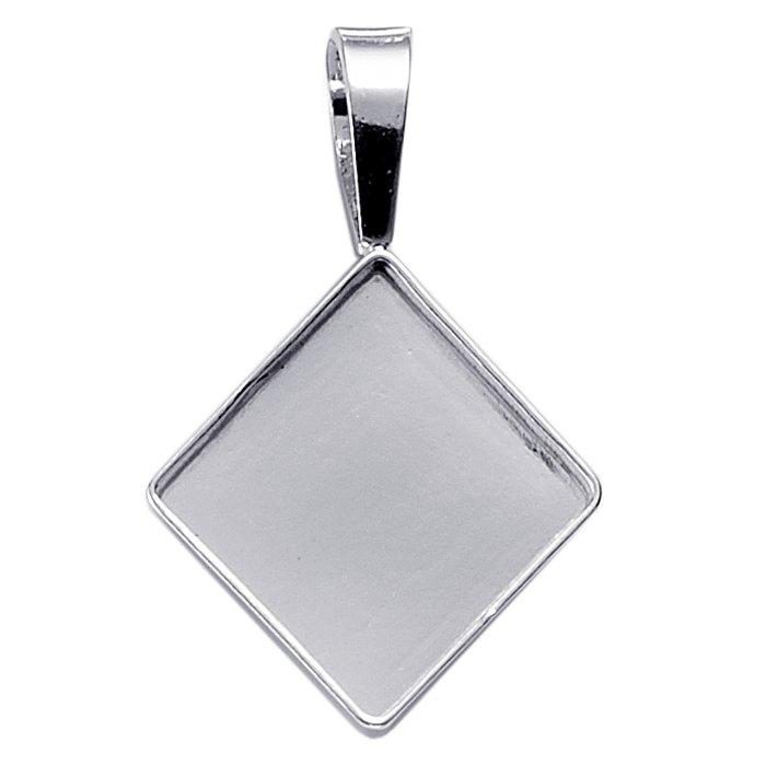 Sterling Silver Square Bezel Pendant Setting with Corner Bail