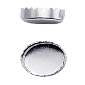 Bezel Cup - Fine Silver Oval Serrated Edge 8 x 6mm