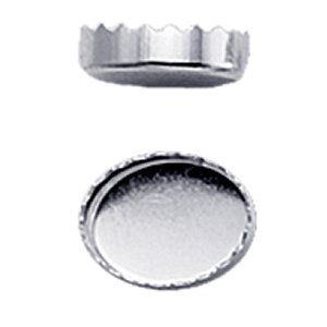 Bezel Cup - Fine Silver Oval Serrated Edge 10 x 8mm