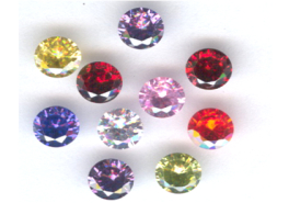 6mm Round Faceted CZ Gemstones - Mixed