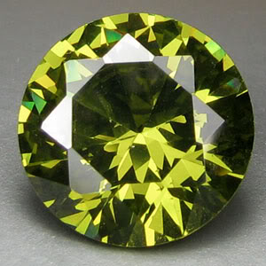 6mm Round CZ Peridot Faceted