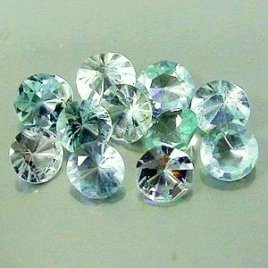 1.5mm Round Faceted Aquamarine CZ's x 10