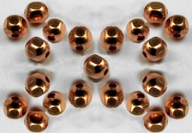 Copper Bead Faceted Hexagon 4mm x 25 Pieces