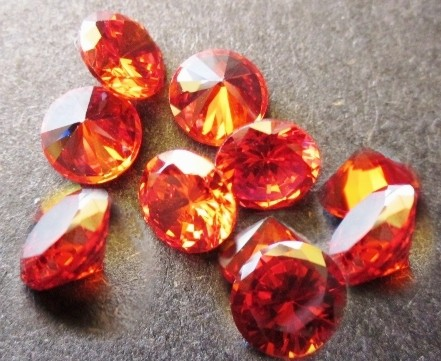 2mm Round Faceted Padparadschah x 10