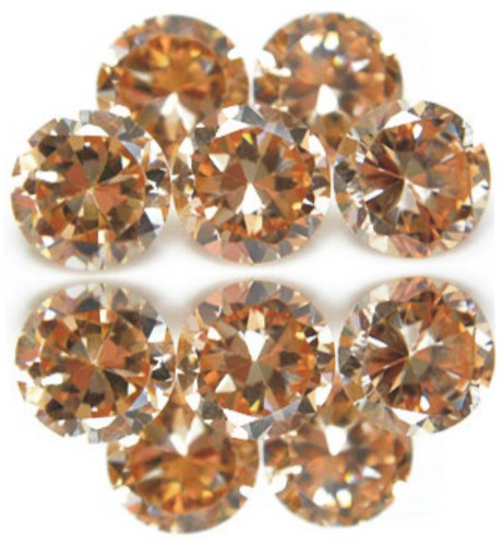 1.5mm Round Faceted Champagne x 10