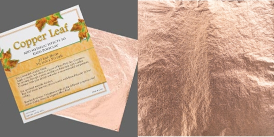 Copper leaf sheets 140mm x 140mm. Pkg of 25 sheets