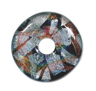 Dichroic Glass Doughnut Focal Bead 43mm