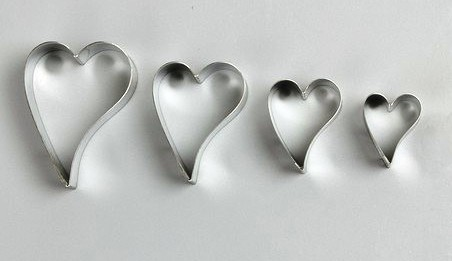 Funky Heart Cutter Set of 4