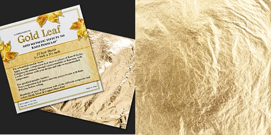 Gold leaf sheets 140mm x 140mm. Pkg of 25 sheets