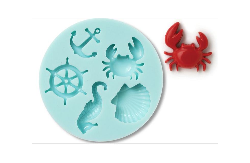 Martha Stewart Teal Silicone Mould Nautilus 5 shapes