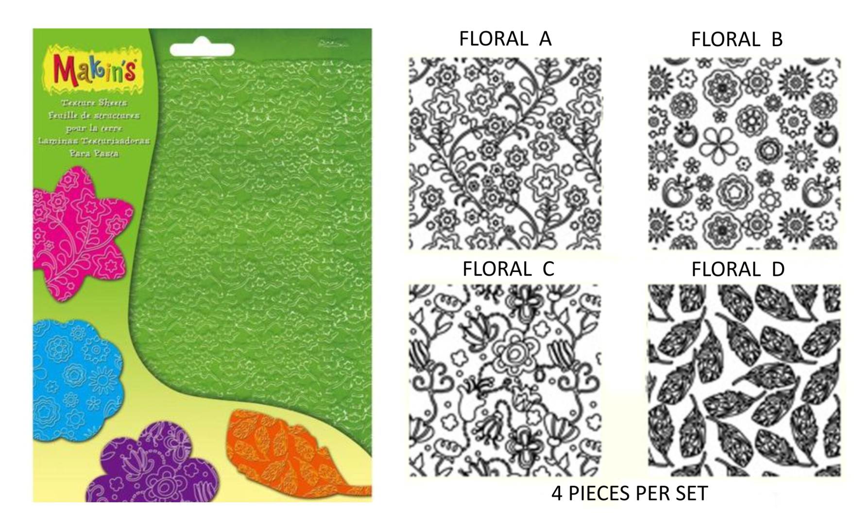 Makins Clay Floral Texture Sheet x 4 Set LARGE Size NEW