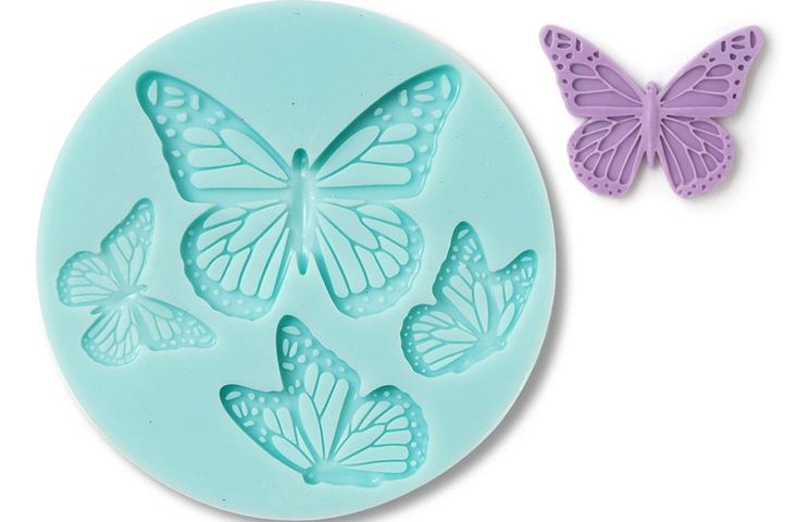 Martha Stewart Teal Silicone Mould 4 x Butterflies