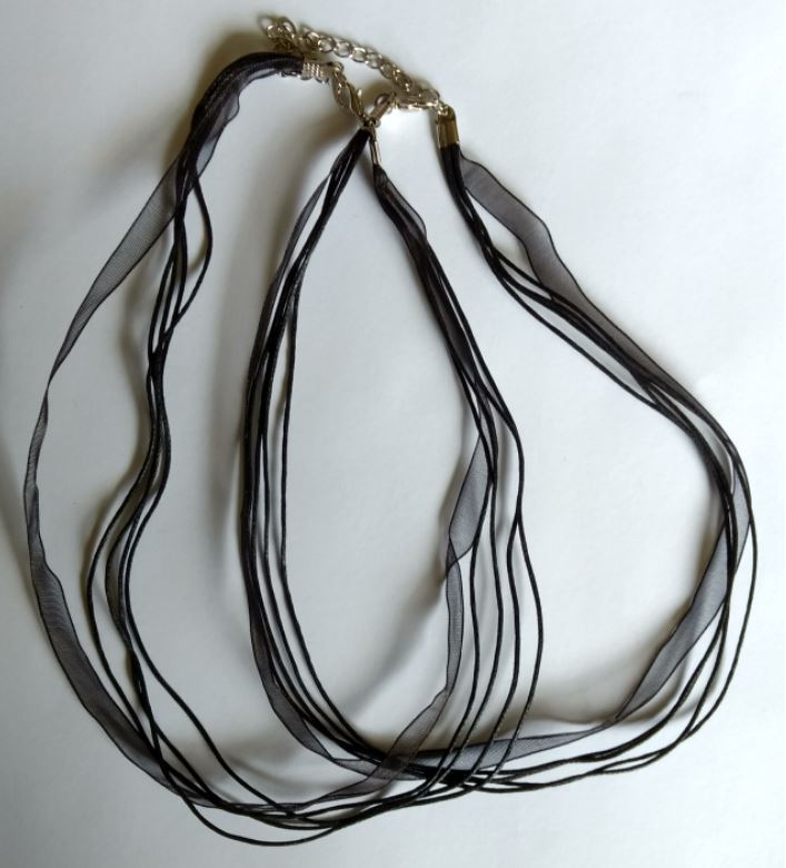 Black multi strand cord and ribbon necklaces x 2 Pieces