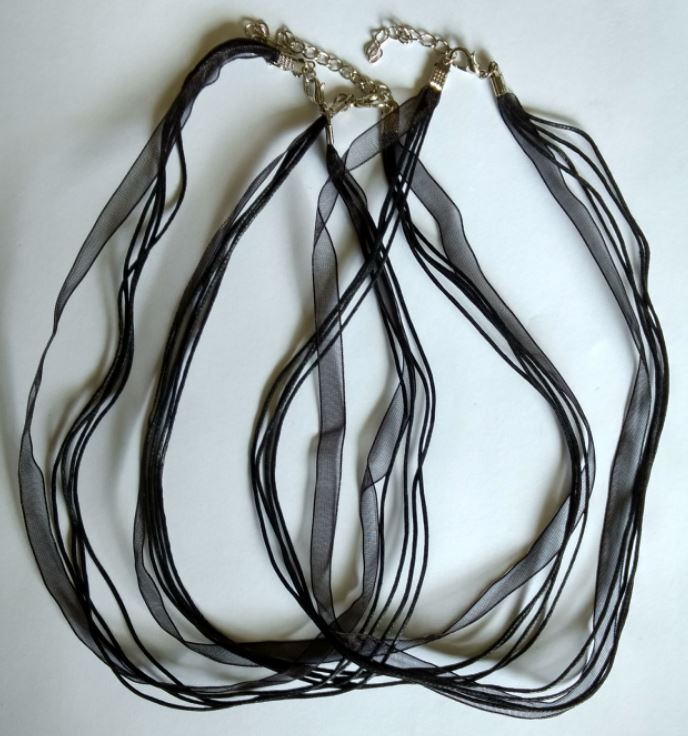 Black multi strand cord and ribbon necklaces x 3 Pieces