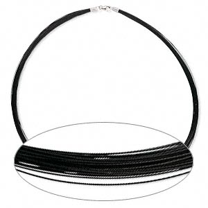 50-strand Necklace - Stainless Steel - Black