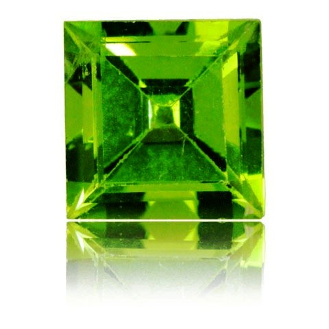 8mm Peridot Princess Cut Faceted CZ