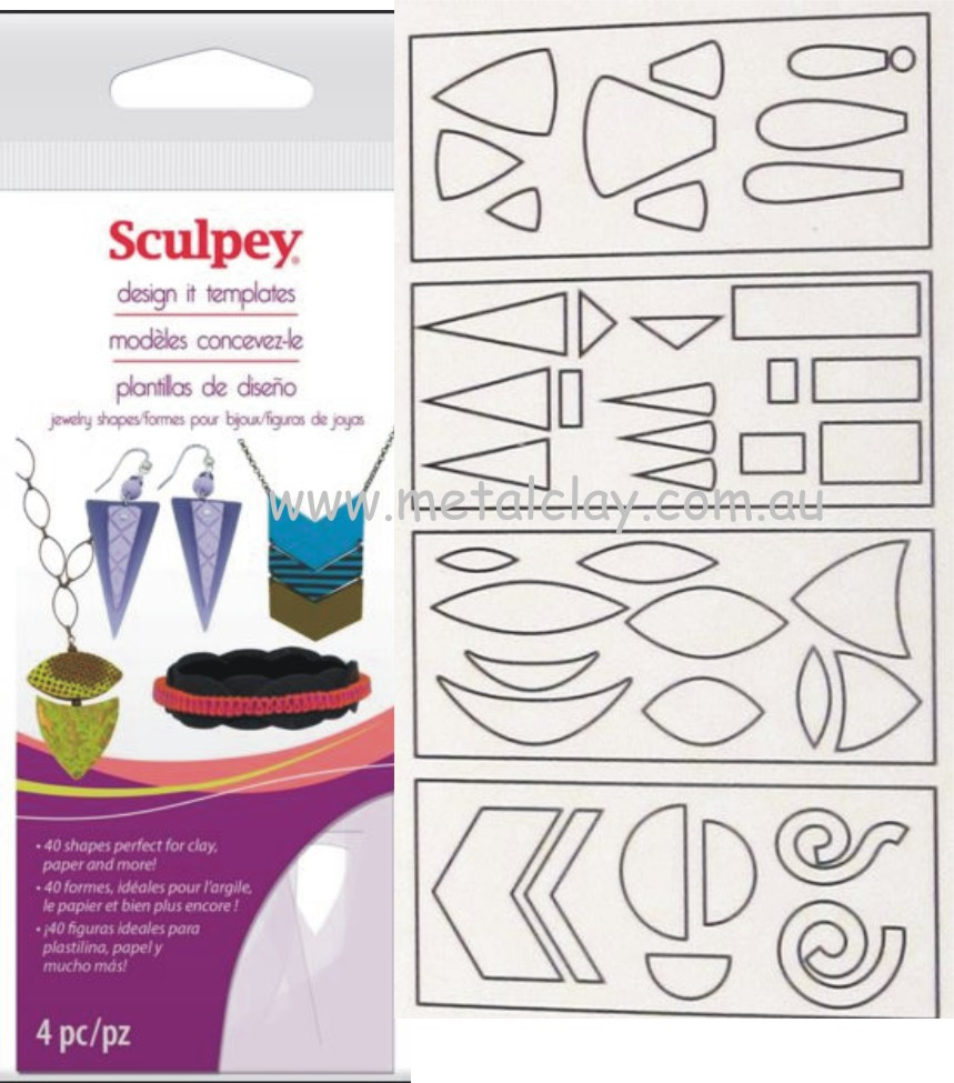 Template - Sculpey Design It Template -Jewellery Shapes