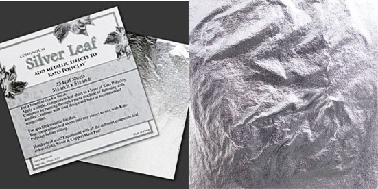 Silver leaf sheets 140mm x 140mm. Pkg of 25 sheets