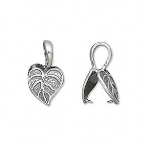 Bail, sterling silver, 19x11mm Heart Shaped Leaf